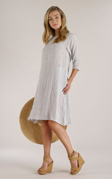 c018095d33f Luna Luz Screen Printed Linen Gauze Short Dress with 3 4 Sleeves